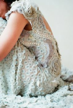 blue wedding dress, Claire Pettibone. I personally wouldn't wear it, but i think its pretty. -elysse