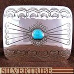 American Indian Navajo Turquoise And Sterling Silver Belt Buckle