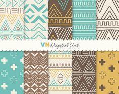 """Numérique, Doodle Tribal, Aztec Digital Scrapbook papier Pack papier (8,5 x 11 """"-300 dpi) - Téléchargement immédiat--10 papiers Digital--525"""