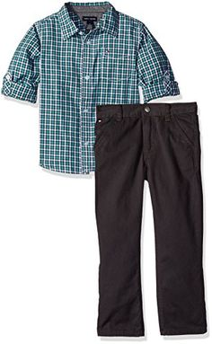 Tommy Hilfiger Little Boys Toddler Roll up Sleeves Shirt with Twill Pants Set Green 3T ** Check out this great product.Note:It is affiliate link to Amazon. #BoysClothing
