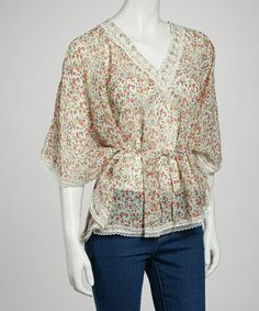 Take a look at this White Floral Lace Poncho by Papillon Imports on #zulily today!