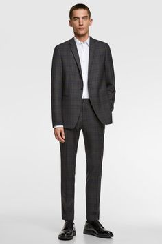 Image 1 de COSTUME À CARREAUX de Zara Mocassins Cuir, Mannequin, Costumes, Formal, Style, Fashion, Zara Man, Plaid Suit, Black Leather