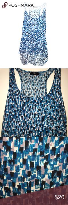 Multi-color high low top Multi-color high-low top. Shades of blue, gray, and white. Made to fit a little loose. Aqua Tops Tank Tops