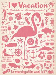 CC Flamingo Pattern Print - The Coastal Collection is breezy, casual, whimsical and fun. Inspired by  vintage coastal and nautical travel  prints, we've set out to create a  collection  of designs with a breezy, casual feel. This flamingo pattern print is perfect for decorating your vacation home, or making any room feel like you are ON VACATION!