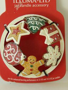 Yankee Candle Illuma Lid Jar Topper Accessory Christmas Gingerbread Cookies Tree #YankeeCandle