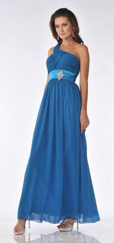 One Shoulder Teal Blue Formal Gown Empire Chiffon Rhinestone Brooch 99,99$