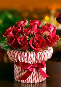 #Christmas table #centerpiece Red rose & candy cane decoration ToniK Joyeux Noël DIY crafts