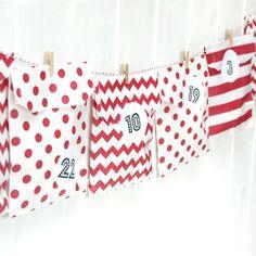 advent calendar red paper bag kit by peach blossom | notonthehighstreet.com