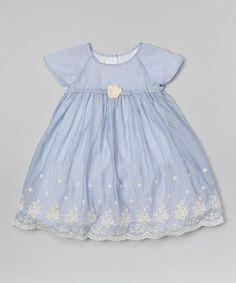 Another great find on #zulily! Blue & White Stripe Scallop Hem Dress - Infant by Laura Ashley London #zulilyfinds