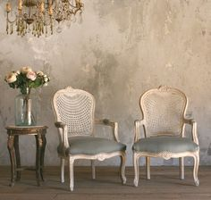 One of a Kind Vintage Shabby White French Style Cane Armchairs Pair