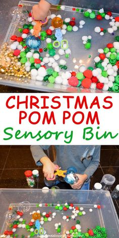 Christmas Pom Pom Sensory Bin – HAPPY TODDLER PLAYTIME- TThis Christmas pom pom sensory bin is quick to set up and provides lots of opportunity for fine motor skill development.  #kids #preschool #pompom