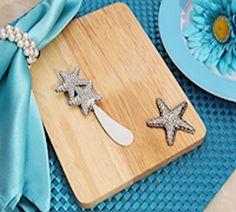 Stylish Wood Cheese Board with Starfish (TW7240C)
