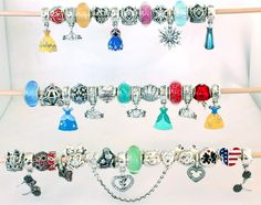 DISNEY Charms Lots To Choose From 100% Genuine Silver - New Pandora Inspired Cinderella Ariel Snow White Frozen Belle Elsa Anna Mickey Mouse