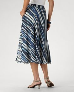 Reversible paintbrush stripe skirt - other side is stippled blue.  Mid-calf and pull-on waist.  found at Coldwater Creek