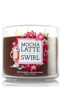 """Mocha Latte Swirl - 3-Wick Candle - Bath & Body Works - The Perfect 3-Wick Candle! Made using the highest concentration of fragrance oils, an exclusive blend of vegetable wax and wicks that won't burn out, our candles melt consistently & evenly, radiating enough fragrance to fill an entire room. Topped with a flame-extinguishing lid! Burns approximately 25 - 45 hours and measures 4"""" wide x 3 1/2"""" tall."""