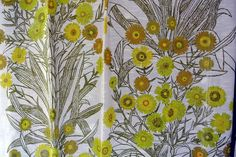 Pair of Swedish vintage 1960s highquality linenprepared cotton design curtains with printed large flower/ leafe motive on bonewhite bottom by NORDICARTCURIOSITY on Etsy Large Flowers, Yellow Flowers, 1960s, Pairs