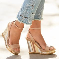 What can be better on this than our Stripe Wedge Sandals. Wear with our Embroidered Straight Crop Jeans from our Series. Click the link in our bio to pre-order. Fancy Shoes, Cute Shoes, Me Too Shoes, Wedge Sandals Outfit, Striped Wedges, Sexy High Heels, Chanel Handbags, Pumps Heels, Wedge Heels