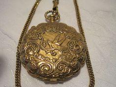 Goldette Pocket Watch Style Locket Pill Box Gold Tone Double Chain Necklace Vtg #Goldette #Locket http://www.ebay.com/itm/Goldette-Pocket-Watch-Style-Locket-Pill-Box-Gold-Tone-Double-Chain-Necklace-Vtg-/181588435945?roken=cUgayN&soutkn=t6cAYT