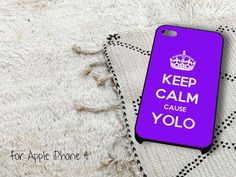 Keep Calm Cause YOLO Purple iPhone 4 iPhone 4S Case by gardenpiano, $15.79