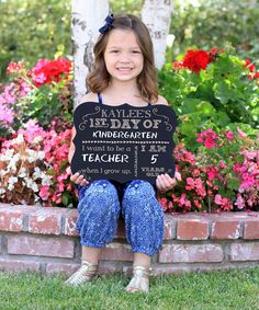 Commemorate their first day at school every year with this chalkboard sign boasting space to write in school year, age and grown-up plans. Additional text included as shown12'' W x 9.5'' HWoodMade in the USA Shipping note: This item will be personalized just for you. Allow extra time for your special find to ship.