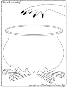 Halloween - What is the witch cooking? CreKid.com - Creative Drawing Printouts - Spark your child's imagination and creativity. So much more than just a coloring page. Preschool - Pre K - Kindergarten - 1st Grade - 2nd Grade - 3rd Grade. www.crekid.com