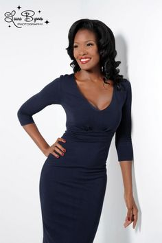 Pinup Couture - Marlene Dress in Midnight blue Knit from Laura Byrnes Black Label