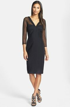 T by Tadashi Illusion Yoke Stretch Jersey Sheath Dress (Regular & Petite) available at #Nordstrom