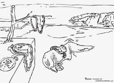 Memory-by-Salvador-Dali-coloring-page.jpg 1.600×1.166 píxeles