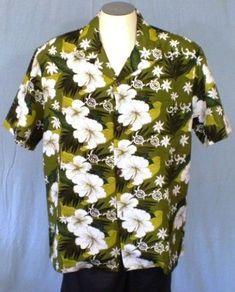 Koko Head Green Large Hawaiian Shirt Floral White Flowers Lizards Polyester #KokoHead #Hawaiian