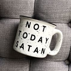 Not Today Satan / Stoneware Mug / Fall Mug / Winter Mug /Coffee Mug by FWMadeCrafts on Etsy