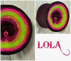 Bobbel *LOLA* Hochbauschacryl 9 Farben im Wechsel: schwarz beere neonpink apfelgrün heller Apfel neonpink beere schwarz