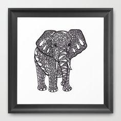 Ink Drawing, Zendoodle Elephant Framed Art Print