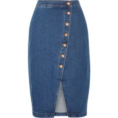 Madewell Stretch-denim wrap skirt (3870 TWD) ❤ liked on Polyvore featuring skirts, madewell, blue wrap skirt, blue skirt, stretch skirts and stretch denim skirt
