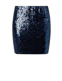 Black Two Tone Sequin Mini Skirt    New Look