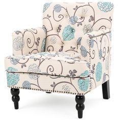 Floral Fabric, Blue Fabric, Living Room Chairs, Living Room Furniture, Dining Room, Tartan, Club Chairs, White Fabrics, Furniture Decor
