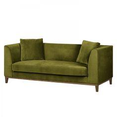 Sofa Blomma (3-Sitzer) - Samtstoff - Olivgrün - Nussbaum