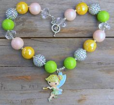 Disney Princess Rhinestone Tinkerbell Fairy Inspired Girls Chunky Necklace, Chunky Bead Necklace Pirate Fairy Fairy Wings