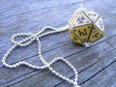 neuroshima biohazard D20 dice pendant dice jewelry by MageStudio, $20.00