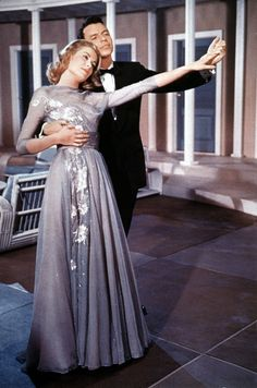 "Grace Kelley, as Tracy Lord,  and Frank Sinatra in ""High Society"", the musical remake of ""The Philadelphia Story"",  the number is ""True Love"""