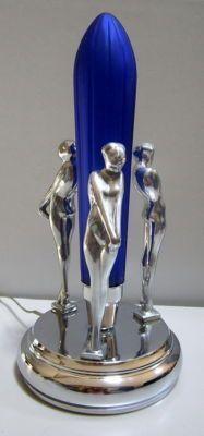 Frankart 3 Nymphs Erotic Art Deco Table Lamp - in a High Polished Aluminum. @Deidra Brocké Wallace