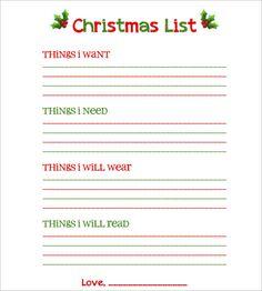 Printable Christmas List Template Christmas Wish List Template  Template  Pinterest  Template
