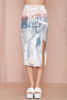 Maurie & Eve Infinite Asymmetric Skirt Id have severely alter it for my figure but how cool and chic with the pastels and neutral tones Textiles, Dress Skirt, Dress Up, Midi Skirt, Fashion Details, Fashion Design, Asymmetrical Skirt, Maurie Eve, Fashion Prints