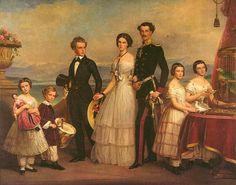 Rodzeństwo Elżbiety. Od lewej: Zofia, Maksymilian Emanuel, Karol Teodor, Helena, Ludwik, Matylda,  Maria. Obraz został namalowany w 1854 roku przez nadwornego malarza monachijskiego Stielera, który był prezentem ślubnym od rodzeństwa dla Elżbiety.