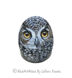 Small Magnet Pretty Owl Painted on A Sea Pebble  by RockArtAttack!
