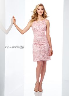 Social Occasions By Mon Cheri 118871 - Enticing and alluring, this sleeveless beaded allover ribbon work knee-length slim A-line dress offers an illusion bateau neckline, a sweetheart bodice with a faux belt at the natural waist, an illusion back and a gently flared skirt.