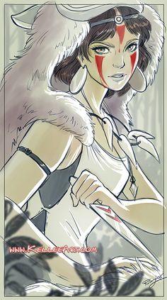 Princess Mononoke for Bear and Bird Gallery show by KelleeArt.deviantart.com on @DeviantArt