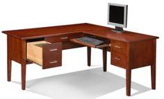 desk Home Office, Office Desk, Cherry Desk, Wood Furniture Store, Corner Desk, Live, Home Decor, Corner Table, Desk Office