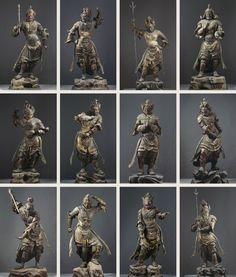 National Treasure of Japan, wooden statues of 12 God, property of Kofuku-ji temple, Japan