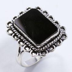 925 Silver Plated Ethnic Jewellery Ring Size US 10 Natural BLACK ONYX Gemstone #Sonacraftandart