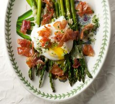Breakfast: roasted asparagus, poached egg and prosciutto